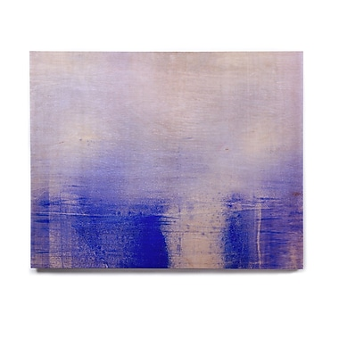 East Urban Home 'Blue & Lavender' Painting Print on Wood; 16'' H x 20'' W x 1'' D
