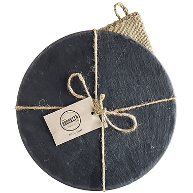 Gracie Oaks Downe Round Slate Cheese Board