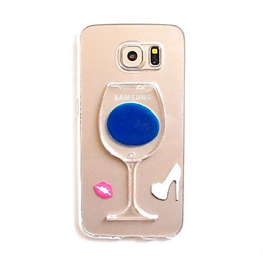 Zanko Wine Glass Gel Cell Phone Fitted Case for Samsung Galaxy S6 edge, Blue (ZKT-WGS-GS6E-BL)