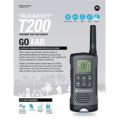 motorola two way radios. motorola 20-mile t200 talkabout 2-way radios triple pack two way