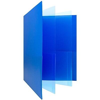 JAM Paper® Heavy Duty Plastic Multi Pocket Folders - 6 Pocket - Blue - 2 Folders/pack