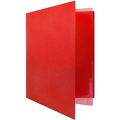 JAM Paper® Heavy Duty Plastic Multi Pocket Folders - 4 Pocket - Red - 2 Folders/pack