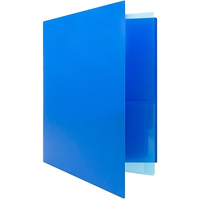 JAM Paper® Heavy Duty Plastic Multi Pocket Folders - 4 Pocket - Blue - 2 Folders/pack