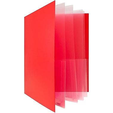 JAM Paper® Heavy Duty Plastic Multi Pocket Folders, 10 Pocket, Red (389MP10RE)