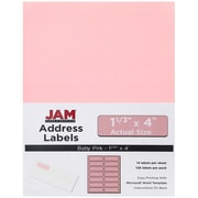 JAM Paper® Mailing Address Labels, 1 1/3 x 4, Baby Pink, 126/pack (359332499)