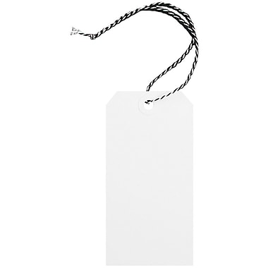 JAM Paper® Premium Gift Tags with String, Medium, 4 3/4 x 2 3/8, White with Black String, 100/Pack