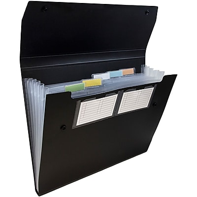 JAM Paper® 6 Pocket Expanding File with Snap Closure, Letter, 9 x 13, Black, Sold Individually (339932771)