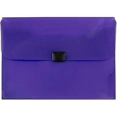 JAM Paper® Plastic Box Portfolio, Center Buckle, 9 1/2 x 13 1/4 x 1 1/8, Purple, Sold Individually (32832768)