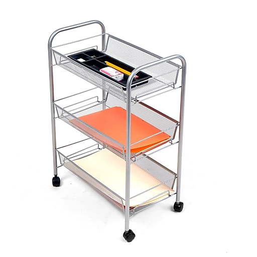 Mind Reader 'Roll' Rolling Metal Mesh 3 Shelf Cart, Silver (3TBATHCART-SIL)
