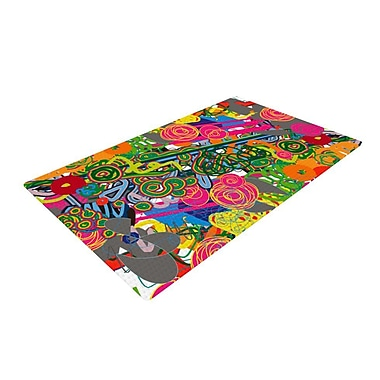 East Urban Home Frederic Levy-Hadida Psychedelic Garden Green/Pink/Gray Area Rug; 2' x 3'