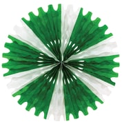 The Holiday Aisle Eclectic Tissue Fan Wall Decor; Green, White