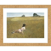 Alcott Hill 'Christina's World' Framed Watercolor Painting Print on Paper; Gold