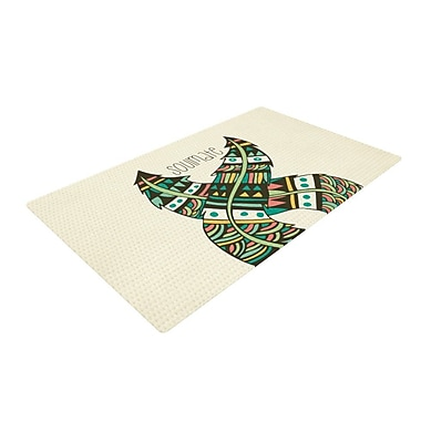 East Urban Home Pom Graphic Design Soulmate Feathers Tan/Green Area Rug; 2' x 3'
