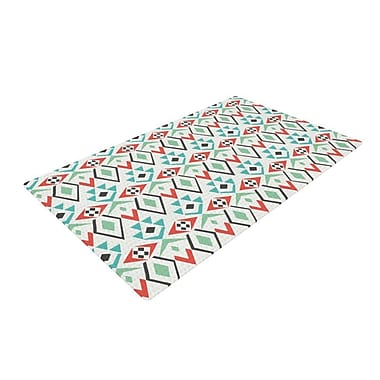 East Urban Home Pom Graphic Design Tribal Marrakech Red/White Area Rug; 4' x 6'