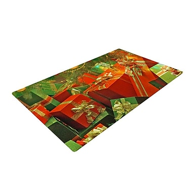 East Urban Home Snap Studio Wrapped in Cheer Presents Red/Green Area Rug; 2' x 3'