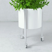 Curonian Oasis Solid Steel Pot Planter; White