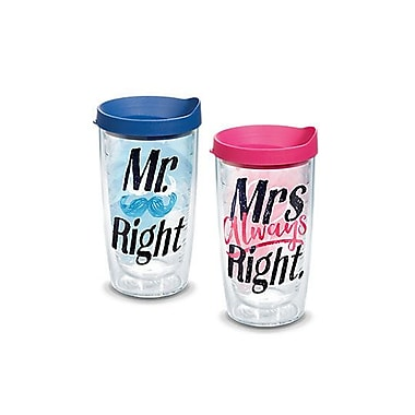 Tervis Tumbler Mr. Right and Mrs. Always Right Gift 16 oz. 2 Piece Insulated Tumbler Set