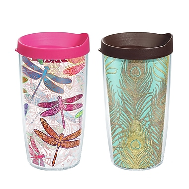 Tervis Tumbler Dragonfly Mandala and Glittery Peacock Gift 16 oz. 2 Piece Insulated Tumbler Set
