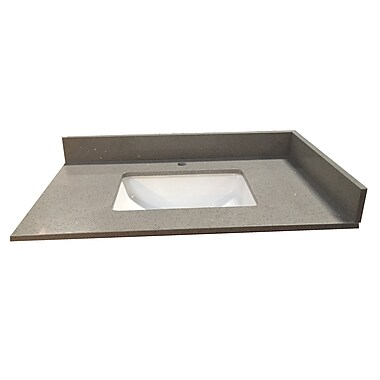 NGY Stone & Cabinet 49'' Single Bathroom Vanity Top; Gray Crystal