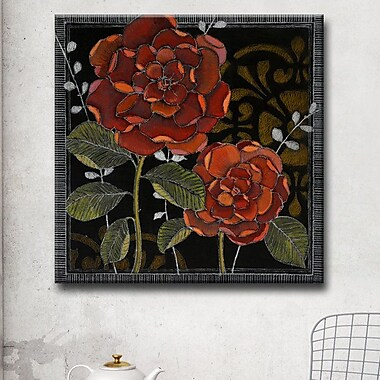 Winston Porter 'Gilt Slate Flora II' Graphic Art Print on Canvas; 16 H x 16 W x 1.5 D