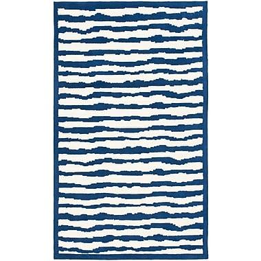 Harriet Bee Claro Ivory/Blue Area Rug; 5' x 8'