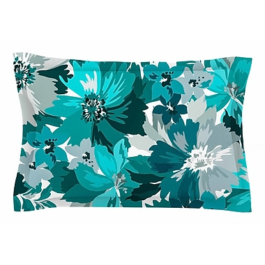 East Urban Home Mmartabc 'Turquoise Blossoms' Illustration Sham; 20'' H x 40'' W x 0.25'' D
