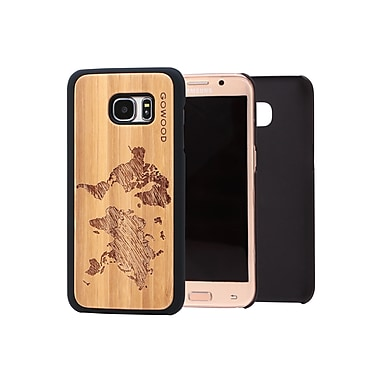 Go Wood Cell Phone Fitted Case for Samsung Galaxy S7 edge, World Map (GW-B30)