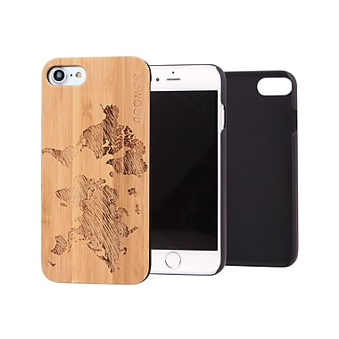 Go Wood Cell Phone Fitted Case for Apple iPhone 7, World Map (GW-B24)