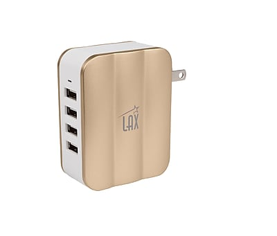 LAX Smartpower 4 Port USB Wall Charger Fast Charging for iPhone, iPad, Samsung, Tablets, Gold