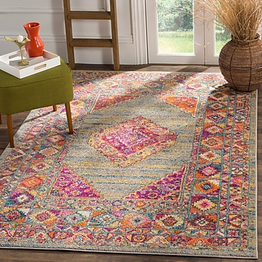World Menagerie Carrillo Light Gray/Fuchsia Area Rug; 3' x 5'