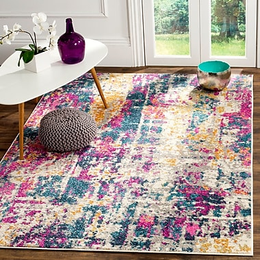 World Menagerie Carrillo Ivory/Blue Area Rug; Square 6'7''