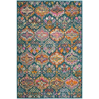 World Menagerie Carrillo Blue/Orange Area Rug; Round 6'7''