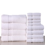 Latitude Run Super Absorb 100pct Cotton Low Twist 12 Piece Towel Set; White