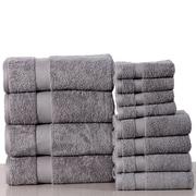 Latitude Run Super Absorb 100pct Cotton Low Twist 12 Piece Towel Set; Silver Gray