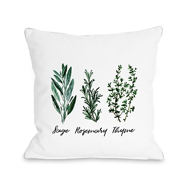 Gracie Oaks Alloway Rosemary Thyme Throw Pillow; 18'' H x 18'' W x 3'' D