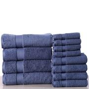 Latitude Run Super Absorb 100pct Cotton Low Twist 12 Piece Towel Set; Blue Stone