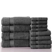 Latitude Run Super Absorb 100pct Cotton Low Twist 12 Piece Towel Set; Charcoal Gray