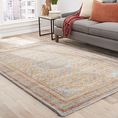 World Menagerie Holden Hand-Tufted Blue/Cinnamon Area Rug; 5' x 8'
