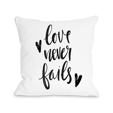 Ivy Bronx Dailey Love Never Fails Throw Pillow; 16'' H x 16'' W x 3'' D