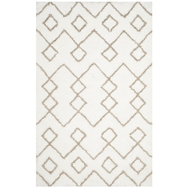 Ivy Bronx Livingstone Hand-Tufted Ivory/Silver Area Rug; Round 5'