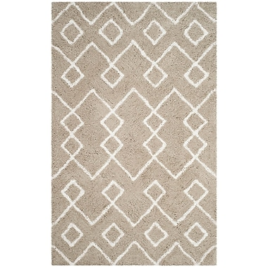 Ivy Bronx Livingstone Hand-Tufted Silver/Ivory Area Rug; Round 5'