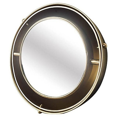 Longshore Tides Round Brass Accent Wall Mirror; 9'' H x 9'' W x 4'' D