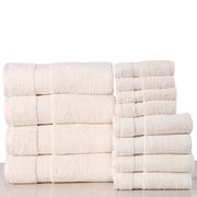 Latitude Run Super Absorb 100pct Cotton Low Twist 12 Piece Towel Set; Ivory