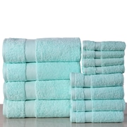 Latitude Run Super Absorb 100pct Cotton Low Twist 12 Piece Towel Set; Aqua