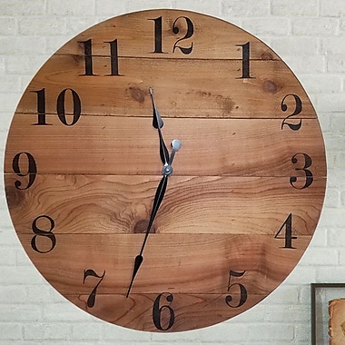 Union Rustic Handmade Wooden Design Oversized Wall Clock; 42'' H x 42'' W x 2'' D