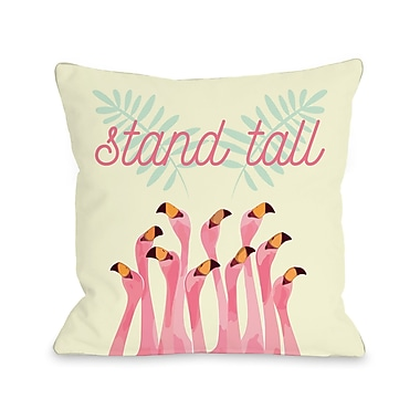 Ivy Bronx Dudgeon Stand Tall Flamingos Throw Pillow; 16'' H x 16'' W x 3'' D