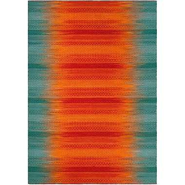 Ivy Bronx Sojourn Hand-Woven Teal/Red Area Rug; 8' x 10'