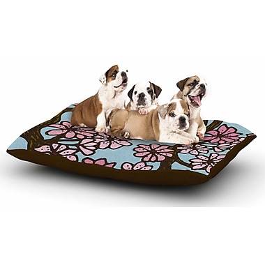 Art Love Passion 'Cherry Blossom Day' Floral Illustration Dog Pillow w/ Fleece Cozy Top