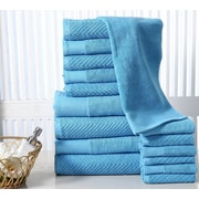 Red Barrel Studio Combed Cotton Chevron 16 Piece Towel Set; Sea Blue