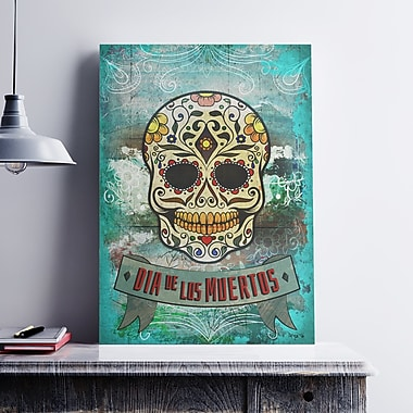 Ebern Designs 'Day of the Dead Sugar Skull' Graphic Art Print on Satin Canvas